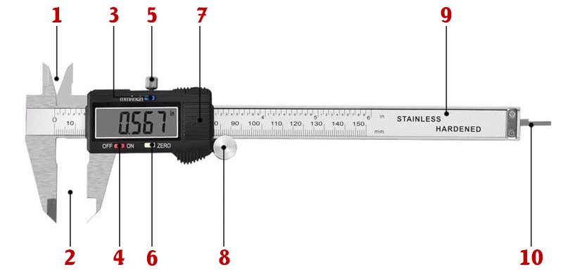 Cấu tạo thước kẹp điện tử